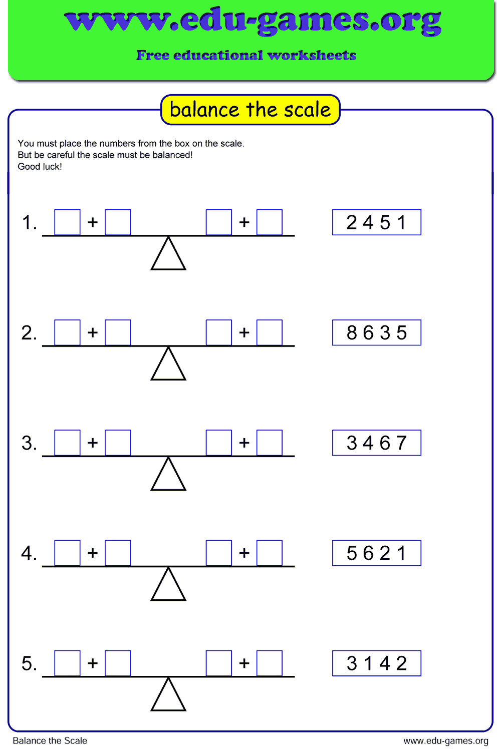 balance-scale  St Grade Math Worksheet Addition And Subtraction on 5th grade, for grage 4, single digit, combo practice, large print, multiplication division,