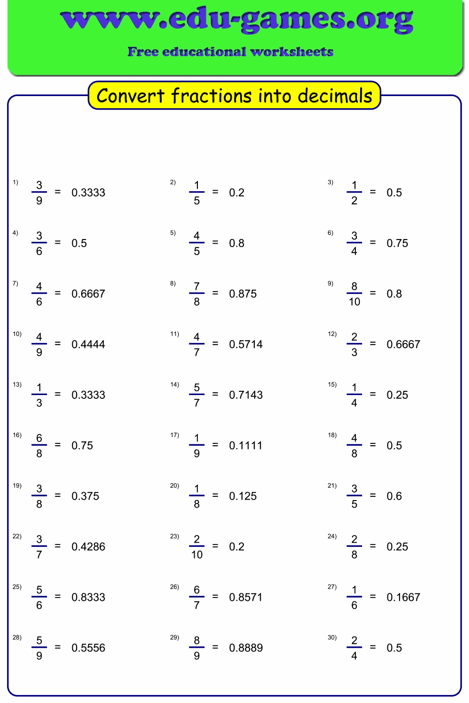Convert fraction to decimal worksheet maker   Free ...