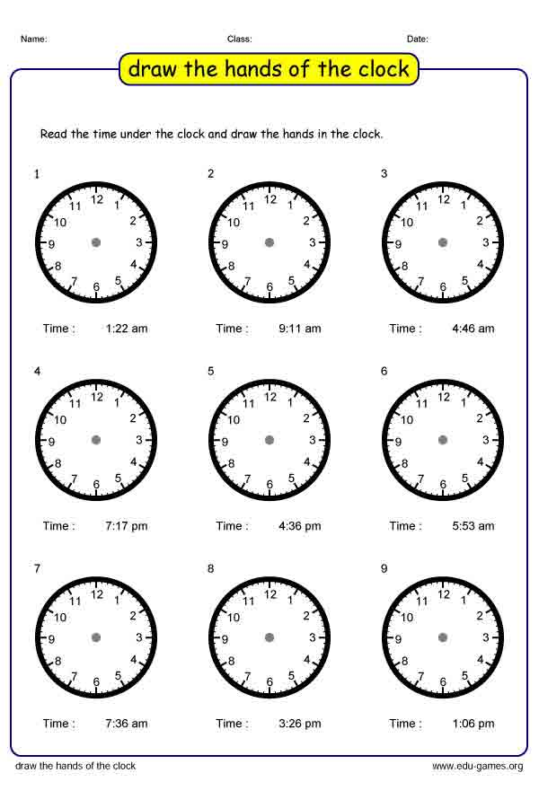 First Grade Time Worksheets | Free Printable Worksheets