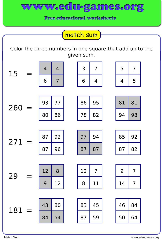 match sum maker - free math worksheets