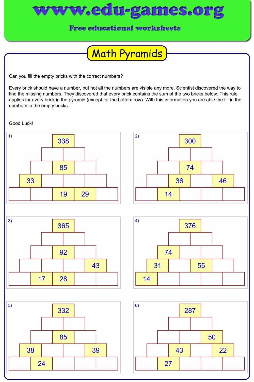Math Pyramid Game Worksheets  Free Printable Math Puzzles
