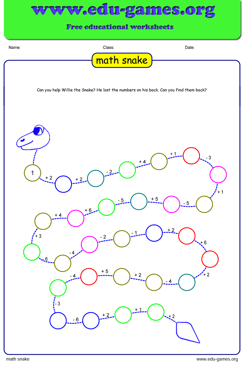 Free Math Snake Puzzle | The Site for Free Printable ...