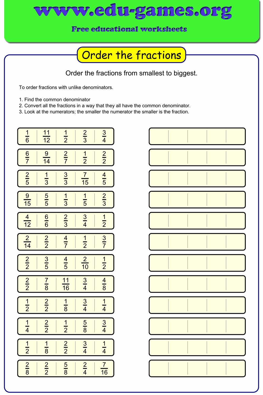 Ordering fractions unlike denominators worksheet.