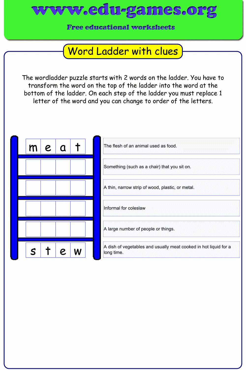 This is a photo of Word Ladder Printable throughout summer