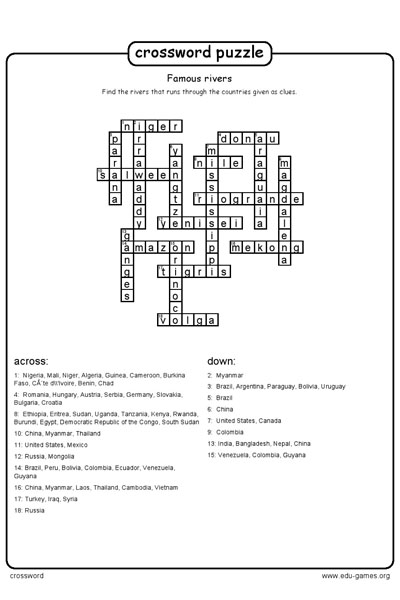 Crossword Maker Free Printable Worksheets