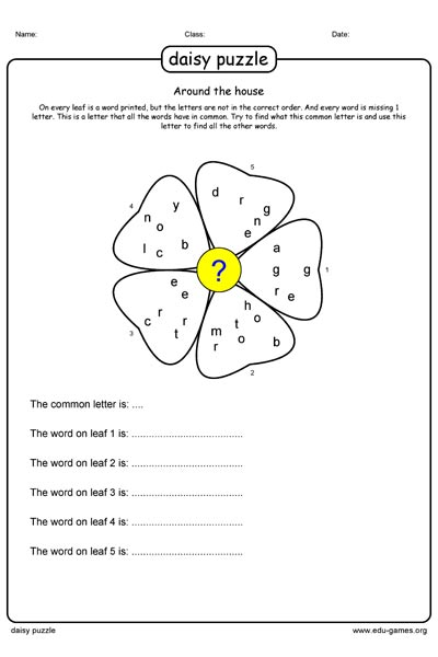 Daisy Puzzle Maker and Puzzles - Free Printable Worksheets