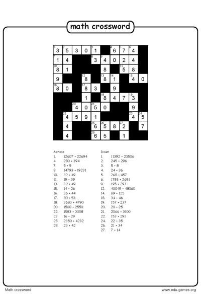 Math Crossword Puzzle Maker