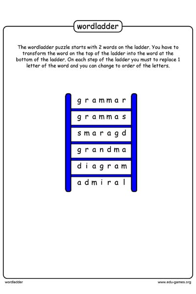Word Ladder Puzzle Maker And Puzzles Free Printable Worksheets