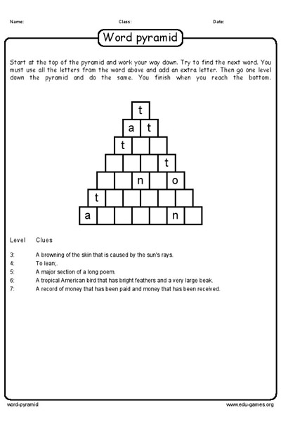 word pyramid puzzle maker