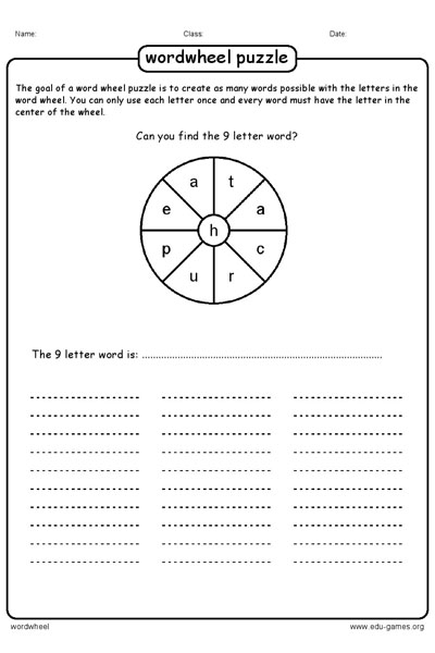 Word Wheel Maker and Puzzles with Answers- Free Printable ...